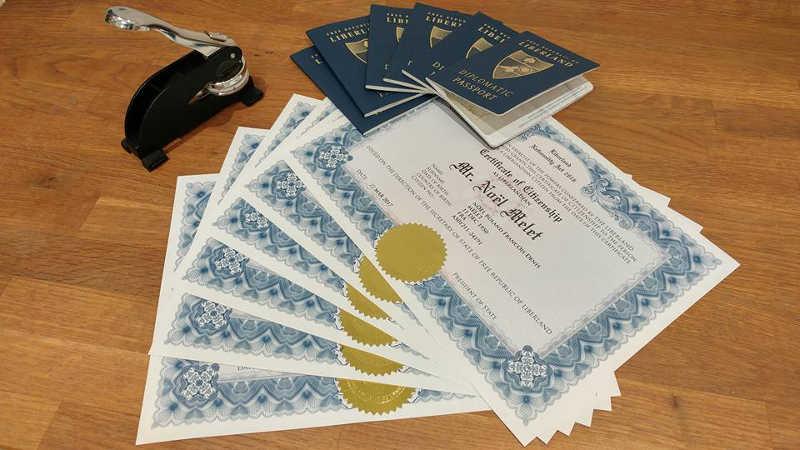 paszport i certyfikaty obywatelstwa Liberlandu