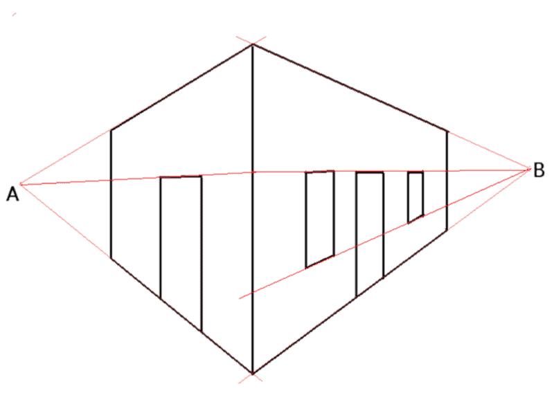 Perspektywa linearna: perspektywa dwupunktowa, rzut narożnika budynku