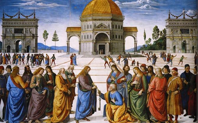 Wręczenie kluczy św. Piotrowi, Pietro Perugino. Przykład perspektywy zbieżnej