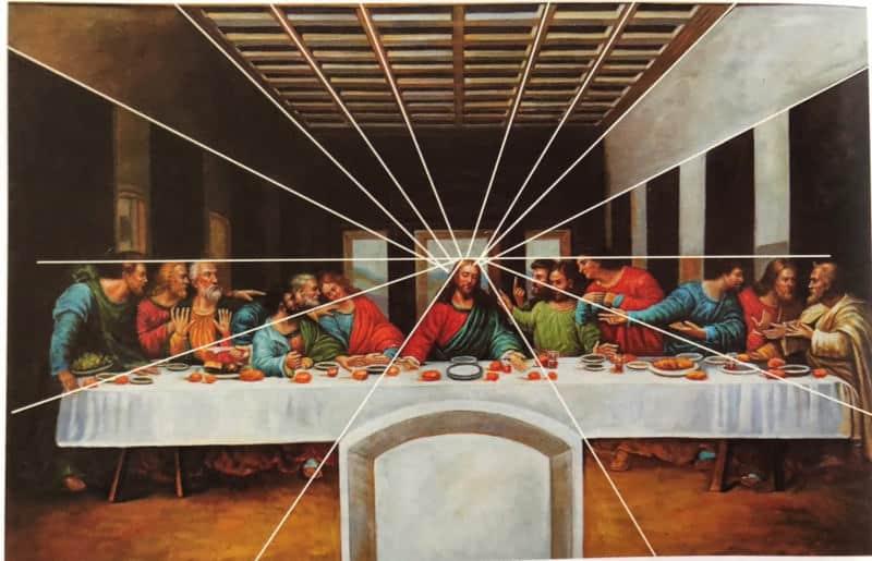 Ostatnia Wieczerza, Leonardo Da Vinci, Perspektywa linearna jednopunktowa