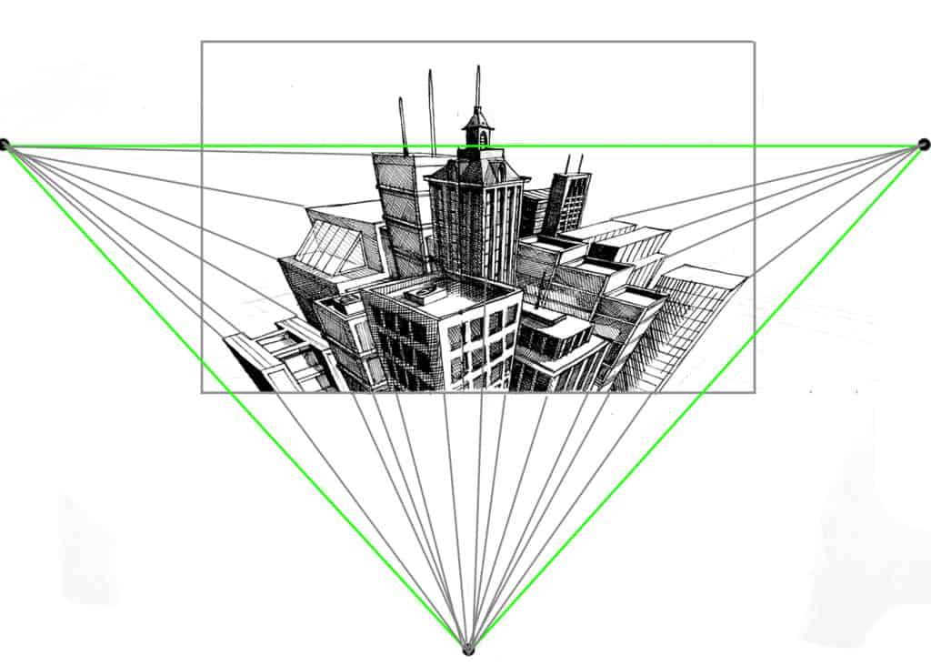 Perspektywa linearna w wariancie perspektywy trzypunktowej.