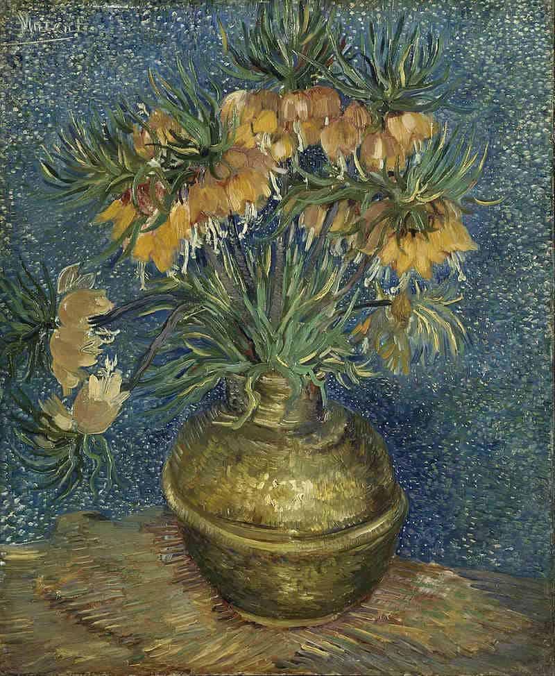 """Szachownice cesarskie w miedzianym wazonie"""" van Gogha"""