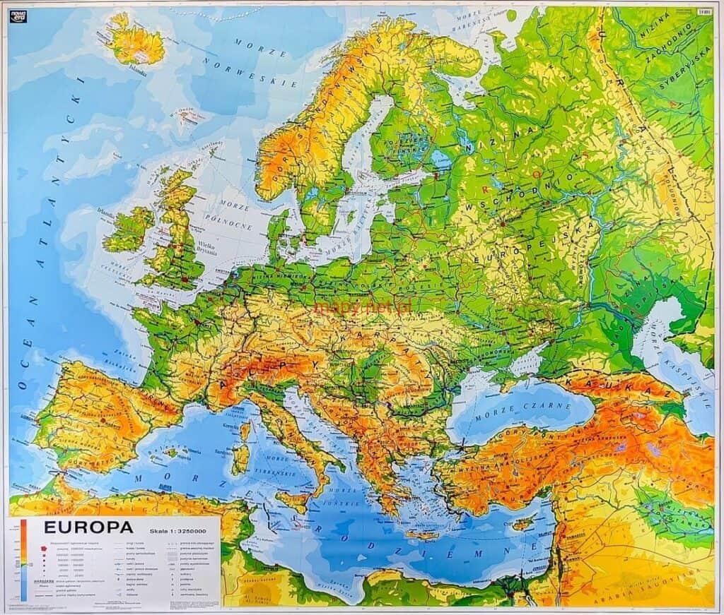 Rodzaje map: mapa ogólnogeograficzna (i jednocześnie fizyczna)